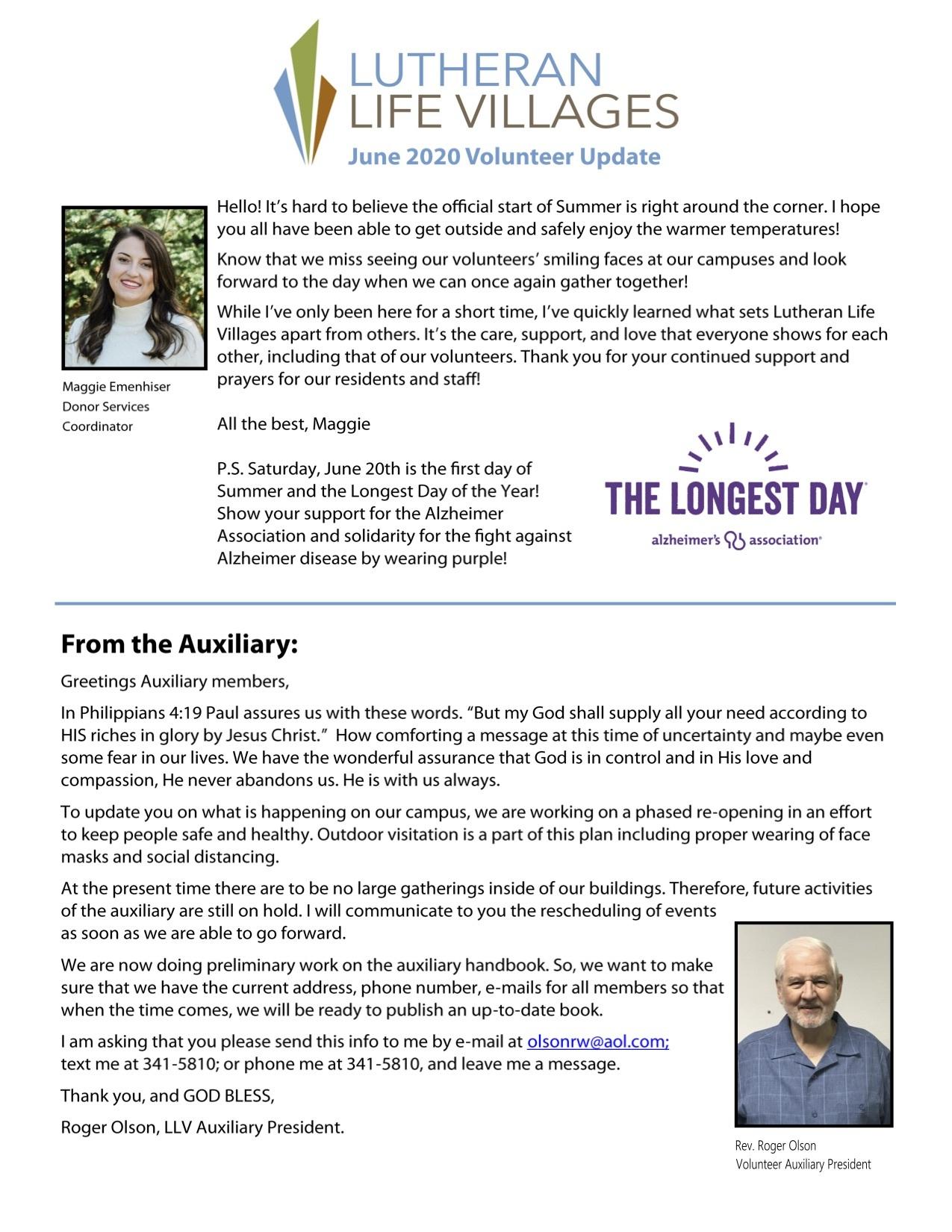 June Volunteer Update - Lutheran Life Villages